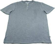 L Lee Mens Vintage Wash SS Texture Henley Shirt Dark Gray Medium