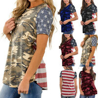 Fashion Womens Camouflage Print American Flag Short Sleeve Tops Blouse T-Shirt