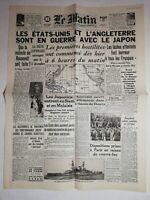 N1136 La Une Du Journal Le Matin 9 décembre 1941 États-Unis l'Angleterre