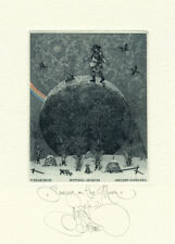 Exlibris by K. Kalinovich SAWING ON THE MOON Original Signed E.A.