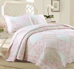 Banner Pink Floral Lace Real Patchwork 100%Cotton Quilt Set, Bedspread, Coverlet