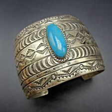 EXTRA WIDE Hand-Stamped Vintage NAVAJO Sterling Silver TURQUOISE Cuff BRACELET