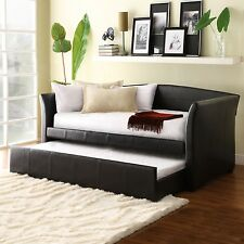 New listing Modern Leather Daybed With Trundle Upholstered Sofa Couch Sleeper Brown Wood New