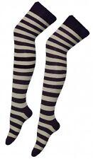 Sopra il ginocchio grigio e nero a righe Stripey Calzini Sox A Strisce coscia alta fantasia
