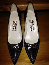 "Salvatore Ferragamo Black Classic Pumps 3"" heels shoes 7A Narrow Italy"