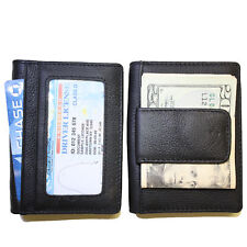 Men's Leather Credit Card Holder Wallet w/ 2 ID Windows