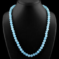 247.75 CTS NATURAL 20 INCHES LONG RICH BLUE CHALCEDONY ROUND BEADS NECKLACE
