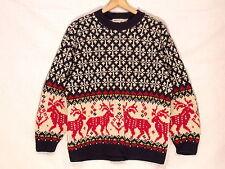 Eddie Bauer classic oversized blue wool Nordic style sweater / women's M-L / b3