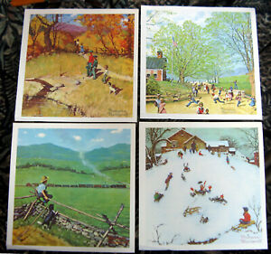 """set of 4 Norman Rockwell color prints 11"""" square  on heavy stock"""