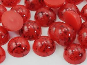 60PCS Red Coral Round Pearl Marble Flat Back Acrylic Cabochon For Crafts 13mm