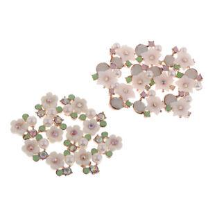 10Pcs Crystal Rhinestone Pearl Buttons Flower Sewing Embellishments Wedding