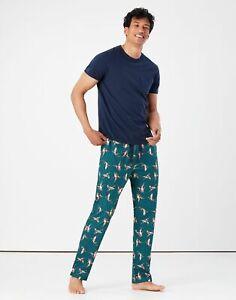 Joules Mens The Printed Sleeper Lounge Pants - Green Duck