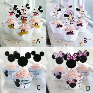 Mickey Mouse & Minnie Mouse Cup Cake Wrappers & Toppers 12 Toppers & 12 Wrappers
