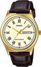 Reloj Nuevo Casio MTP-V006GL-9B Hombres Análoga Día Fecha Oro Cuero