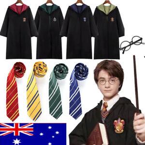 Harry Potter Adult Kids Robe Cloak Gryffindor Slytherin Tie Cosplay Costume Cape