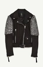 ZARA LEATHER BIKER JACKET WITH STUDS EMBROIDERED SHOULDERS $299