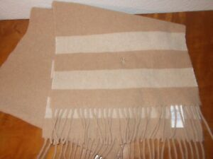 Polo Ralph Lauren Tan Beige Wool Fringe Scarf Made in Italy