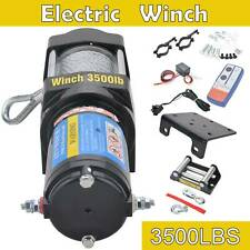 12V 3500LBS Electric Recovery Winch Heavy Duty Trailer Truck Remote Control Rope