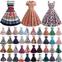 Womens Vintage 50 60s Sleeveless Rockabilly Swing Evening Party Swing Midi Dress