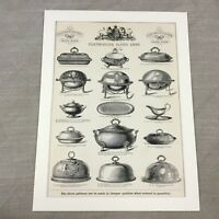 1880 Antique Advertising Print Silver Breakfast Dish Original Victorian Advert