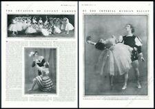 1911 Vaslav Nijinsky Tamara Karsavina photo Russian Ballet vintage print article