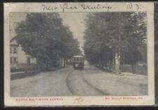 Postcard MT HOLLY SPRINGS PA  North Baltimore Avenue Home & Trolley 1906