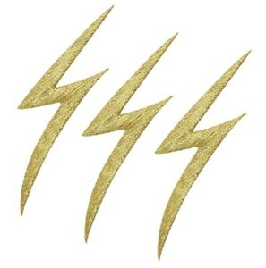 """Lightning Bolt Applique Patch - Gold, Electricity 2-1/8"""" (3-Pack, Iron on)"""