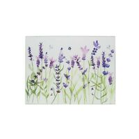 Lavender Flower Tempered Glass Worktop Saver Chopping Food Serving Cutting Board
