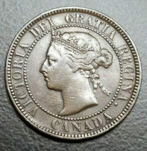1884 Canada Large Cent Queen Victoria Nice High Grade Old Canadian 1800's Coin