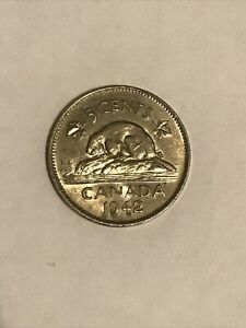 CANADA 1942 5 CENTS Coin 🇨🇦 Canadian Nickel WWII Era Beaver Really Nice!