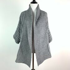 Roz & Ali Womens sweater size 2X gray 30% wool Open Front cardigan