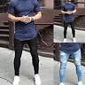 Mens Fashion Super Stretch Skinny Tight Slim Denim Jeans Ripped Distressed Pants