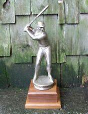 "Vintage Baseball Trophy Award Metal Bronze Batter Batting Hitter 15"" Tall"