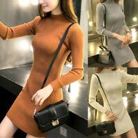 Women Long Sleeve Slim Knit Sweater Mini Dress Fashion Autumn Bodycon Skirts New