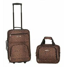 2-Pc. Leopard Print Luggage Set Rolling Suitcase Carry-On Flight Tote Bag Fabric