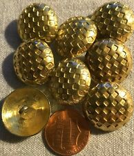 """8 Gold Tone Domed Checkered Metal Shank Buttons 13/16"""" 20MM Lot # 2672"""
