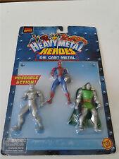 """MARVEL COMICS HEAVY METAL HEROES 3 FIGURES DIE CAST 3"""" POSEABLE TOYBIZ 1999"""