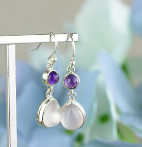 Women Fancy 925 Silver Moonstone Gemstone Dangle Drop Earrings Jewelry Boho Gift