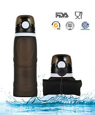 Travel Collapsible Silicone Sport Flex Water Bottle Foldable Hiking 750 ml Black