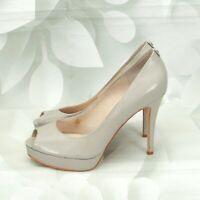Michael Kors Women's Designer Peep-Toe High Heels Pumps Size 9M Leather Gray