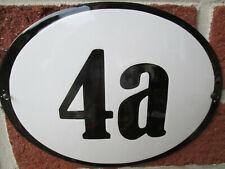 Hausnummer Oval Emaille schwarze Zahl Nr. 4a  weißer Hintergrund 19 cm x 15 cm