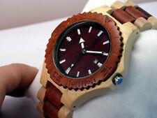 Men's Maple Wood + Red Sandalwood Casing Quartz Watch Wood Band + Date Indicator