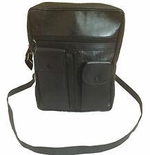 Mens Real Leather Messenger Travel Bag Man bag Organiser Shoulder Utility Black