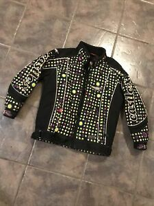 Castle X Girls Twist Polka Dot Insulated Snowmobile Jacket Medium Black Lined