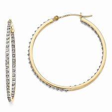 14k Yellow Gold Diamond Round Hinged Hoop Earrings. Width- 1mm x Diameter- 40mm
