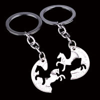 2P Women Men Animal Horse Keyring Couple Friend BFF Keychain Key Chain Ring Gift