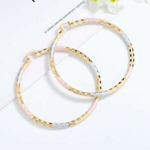 Multi colors Round hoop earrings 18k Layered real gold filled  50mm