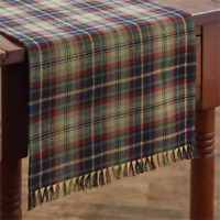 """Gray, Navy, Green, Red Plaid 13""""x54"""" Prim, Country, Park Designs Table Runner"""