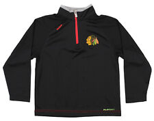 Reebok Chicago Blackhawks NHL Boys Kids Center Ice TNT 1/4 Zip Pullover, Black