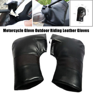 2PCS Motorcycle Glove Winter Thickened Cold-proof Warm Riding PU Leather Gloves
